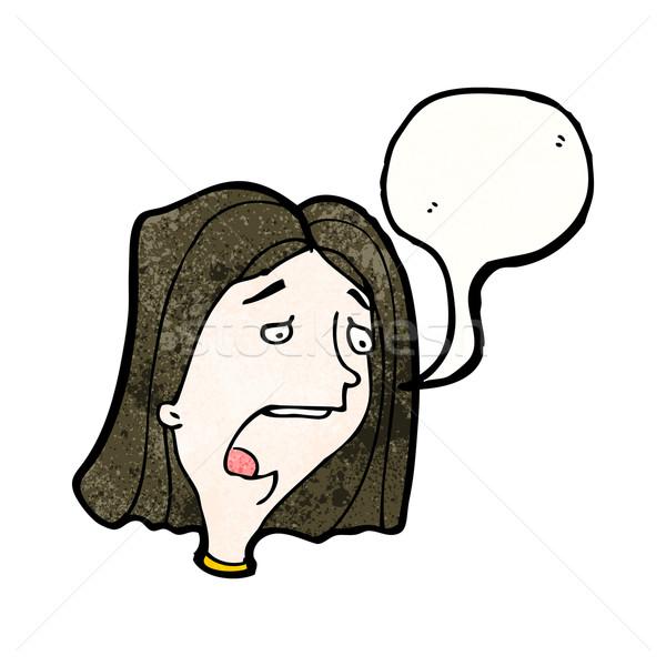 Desenho Animado Chateado Mulher Triste Retro Feminino