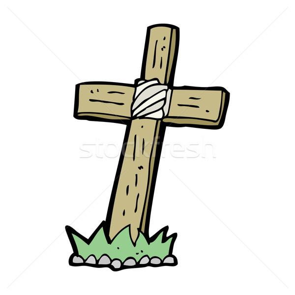 Cartoon bois croix grave main design Photo stock © lineartestpilot