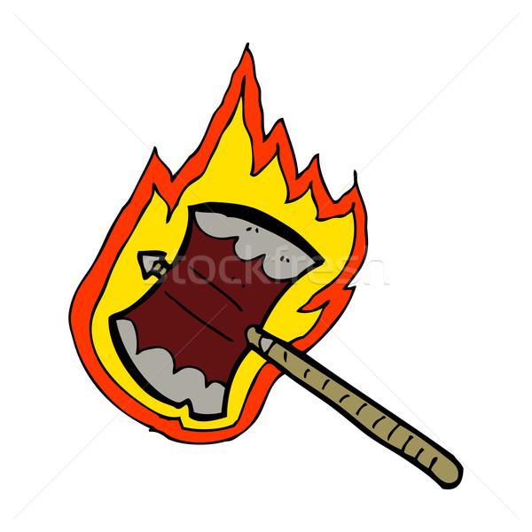 cartoon flaming axe Stock photo © lineartestpilot