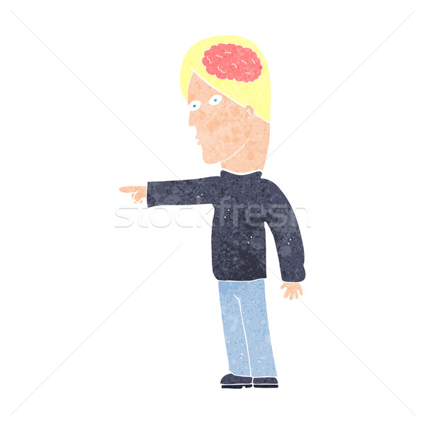 Cartoon astucieux homme pointant main design Photo stock © lineartestpilot