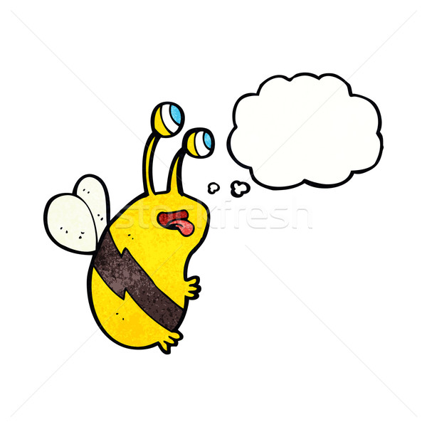 cartoon funny bee with thought bubble Stock photo © lineartestpilot