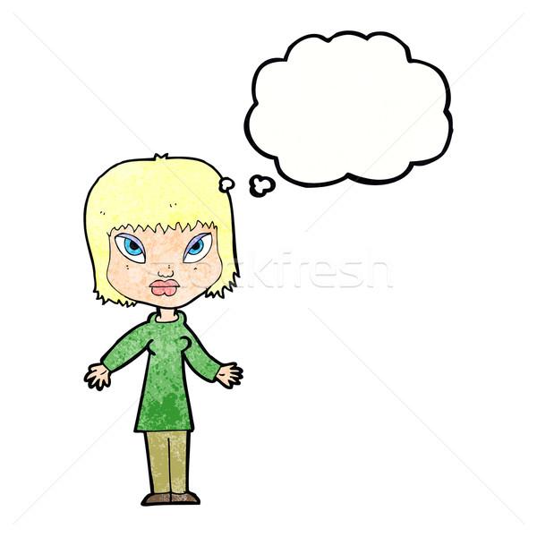 Cartoon mujer abierto armas burbuja de pensamiento mano Foto stock © lineartestpilot