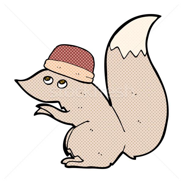 Komik karikatür sincap şapka Retro Stok fotoğraf © lineartestpilot