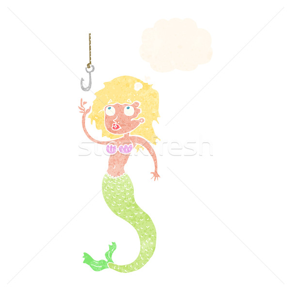 Desenho animado sereia peixe gancho balão de pensamento mão Foto stock © lineartestpilot