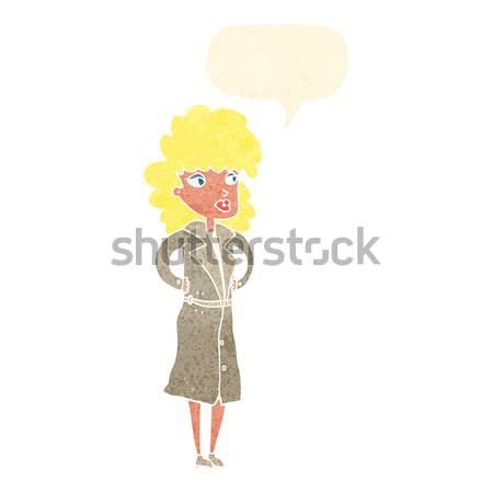Cartoon женщину окоп пальто мысли пузырь стороны Сток-фото © lineartestpilot