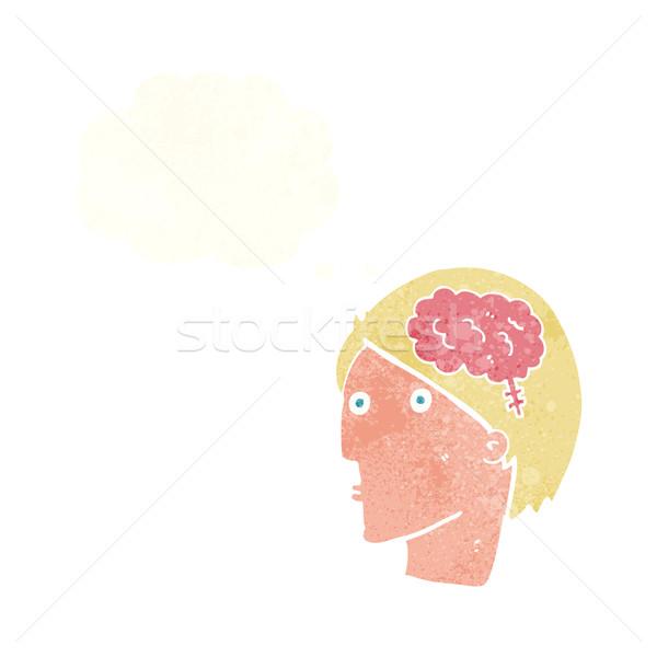 Cartoon uomo cervello simbolo bolla di pensiero mano Foto d'archivio © lineartestpilot
