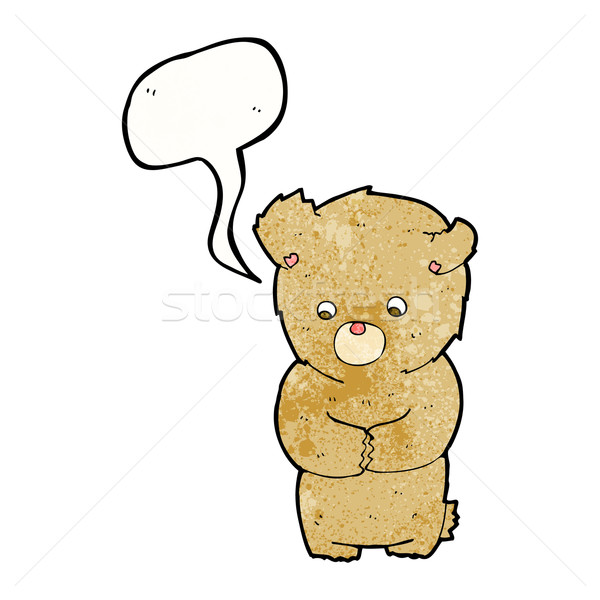 cartoon shy teddy bear with speech bubble Stock photo © lineartestpilot