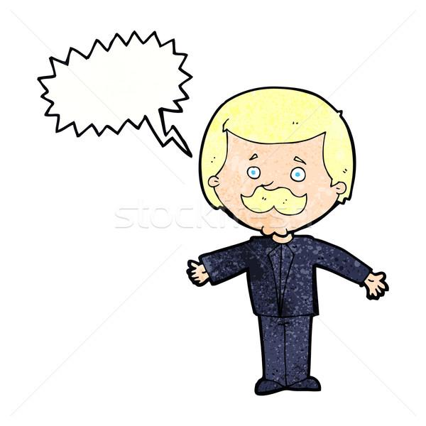 Cartoon усы человека открытых оружия речи пузырь Сток-фото © lineartestpilot