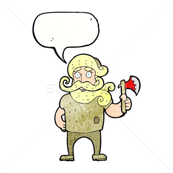 Desenho animado lenhador machado balão de fala mão homem Foto stock © lineartestpilot