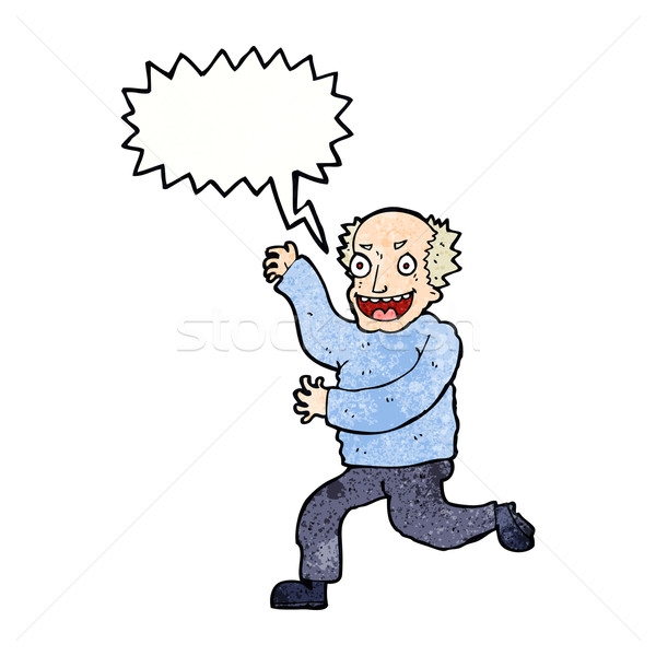 cartoon evil old man with speech bubble Stock photo © lineartestpilot