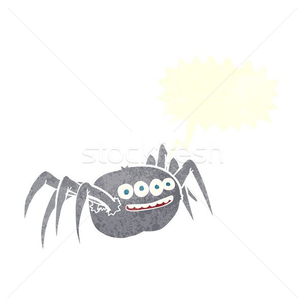 cartoon spooky spider with speech bubble Stock photo © lineartestpilot