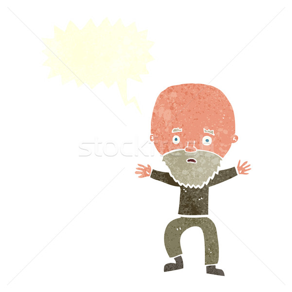 cartoon panicking old man with speech bubble Stock photo © lineartestpilot