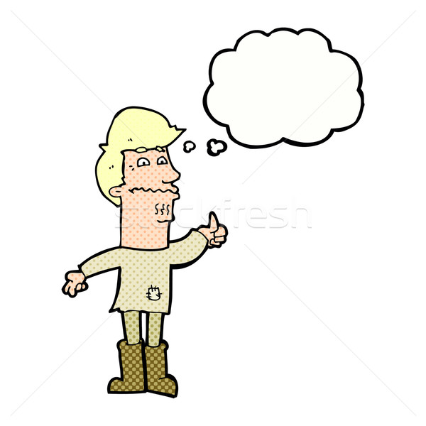 cartoon nervous man with thought bubble Stock photo © lineartestpilot