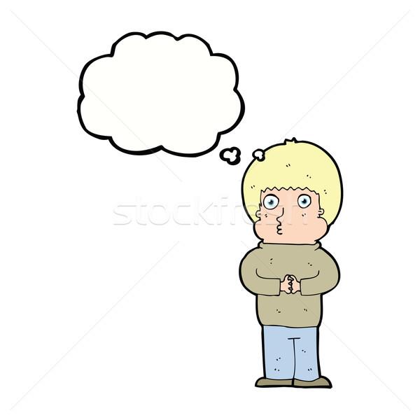 Cartoon verlegen jongen gedachte bel hand man Stockfoto © lineartestpilot