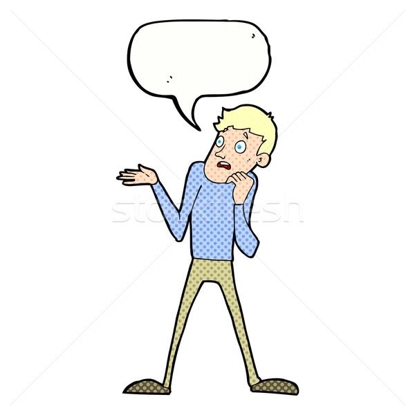 Cartoon nerveus man tekstballon hand ontwerp Stockfoto © lineartestpilot