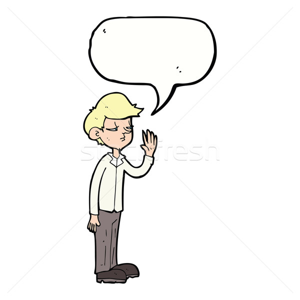 Rajz arrogáns fiú szövegbuborék kéz férfi Stock fotó © lineartestpilot