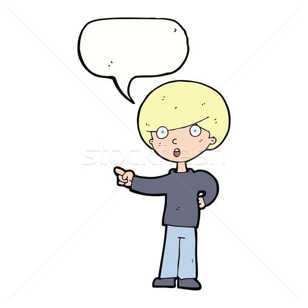 漫画 ポインティング 少年 吹き出し 手 男 ストックフォト © lineartestpilot