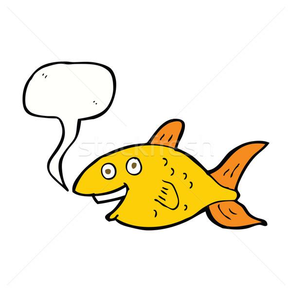 Cartoon vis tekstballon hand gelukkig ontwerp Stockfoto © lineartestpilot