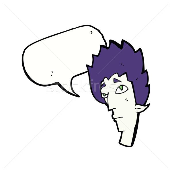 Cartoon vampiro cabeza bocadillo mano diseno Foto stock © lineartestpilot