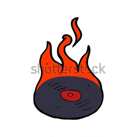 comic cartoon burning vinyl record Stock photo © lineartestpilot
