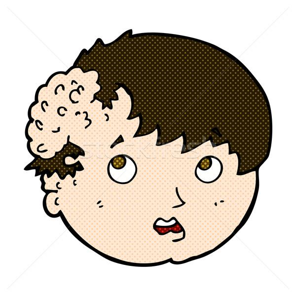 Cómico Cartoon nino feo crecimiento cabeza Foto stock © lineartestpilot