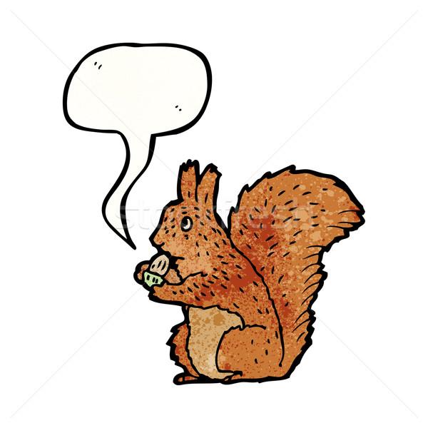 Ilustrado esquilo bolota falante retro desenho Foto stock © lineartestpilot
