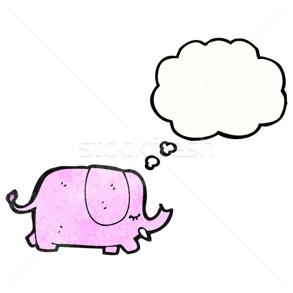 Cartoon розовый слон искусства ретро рисунок Сток-фото © lineartestpilot
