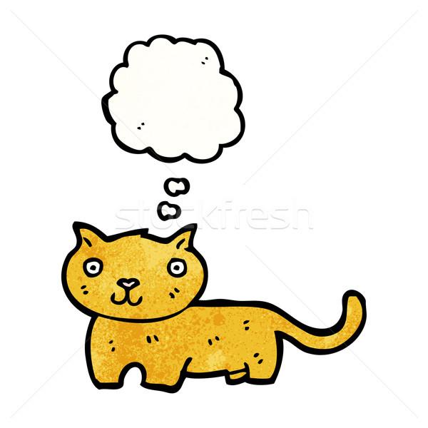 Cartoon gato burbuja de pensamiento arte retro dibujo Foto stock © lineartestpilot