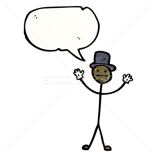 cartoon stick man with speech bubble Stock photo © lineartestpilot
