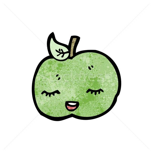 Mooie appel cartoon gezicht kunst retro Stockfoto © lineartestpilot