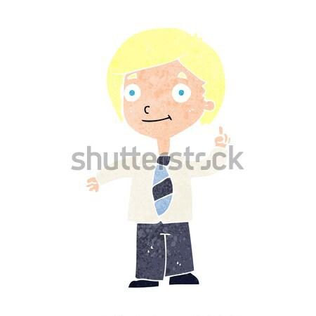 Rajz iskolás fiú kérdés iskola terv művészet Stock fotó © lineartestpilot