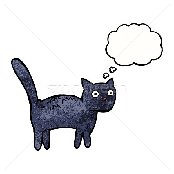 cartoon frightened cat with thought bubble Stock photo © lineartestpilot