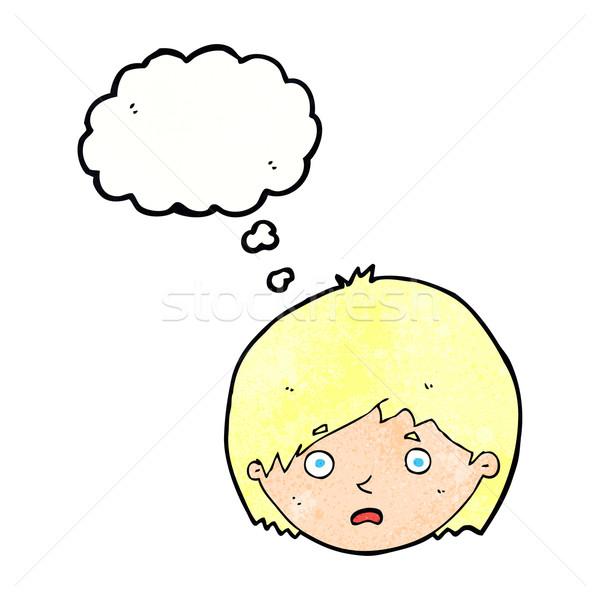 Cartoon infelice ragazzo bolla di pensiero mano uomo Foto d'archivio © lineartestpilot