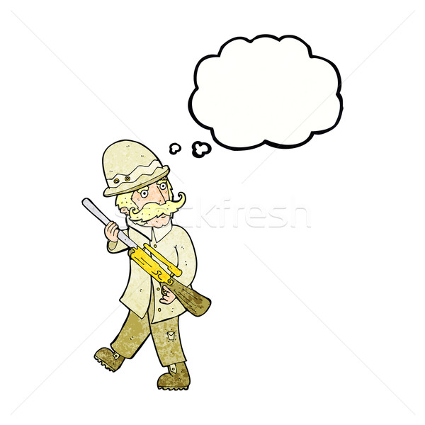 cartoon big game hunter with thought bubble Stock photo © lineartestpilot