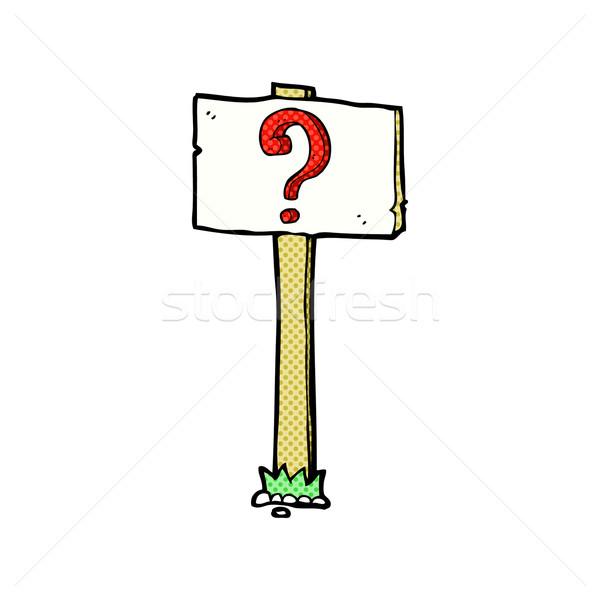Komik karikatür tabelasını soru işareti Retro Stok fotoğraf © lineartestpilot