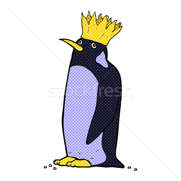 Stockfoto: Komische · cartoon · keizer · pinguin · retro