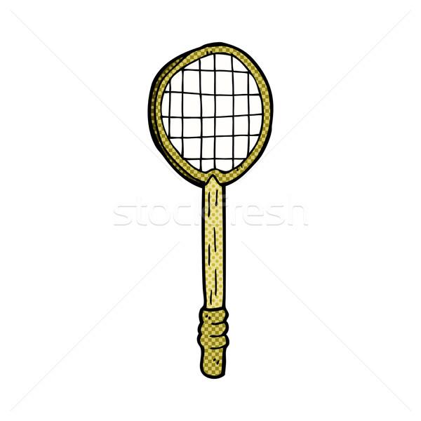 Fumetto cartoon vecchio racchetta da tennis retro Foto d'archivio © lineartestpilot