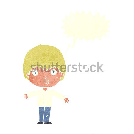 cartoon smug boy with thought bubble Stock photo © lineartestpilot