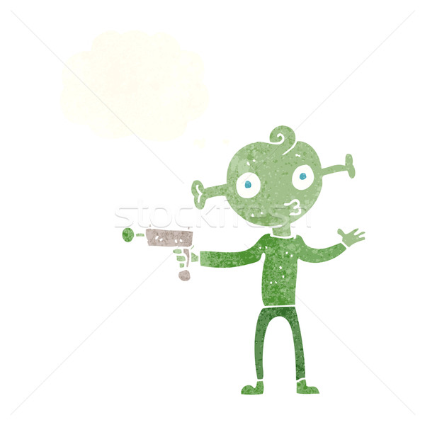 cartoon alien with ray gun with thought bubble Stock photo © lineartestpilot