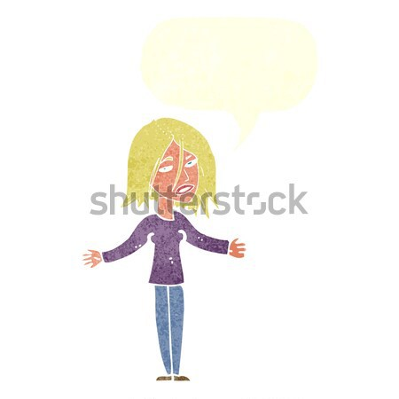 Cartoon paisible femme bulle de pensée main design Photo stock © lineartestpilot
