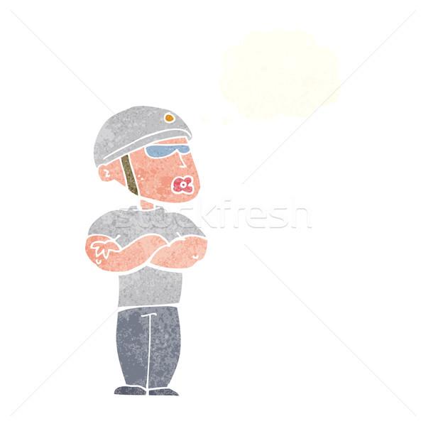 Desenho animado guarda de segurança balão de pensamento mão homem projeto Foto stock © lineartestpilot