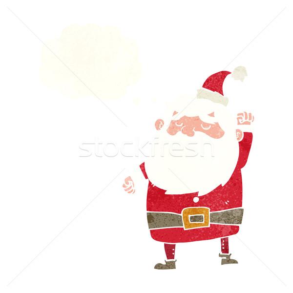 Cartoon kerstman lucht gedachte bel hand ontwerp Stockfoto © lineartestpilot