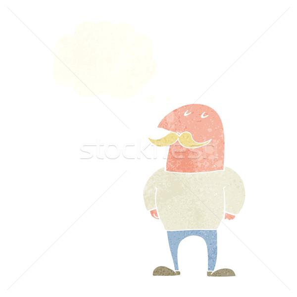 Cartoon calvo hombre bigote burbuja de pensamiento mano Foto stock © lineartestpilot