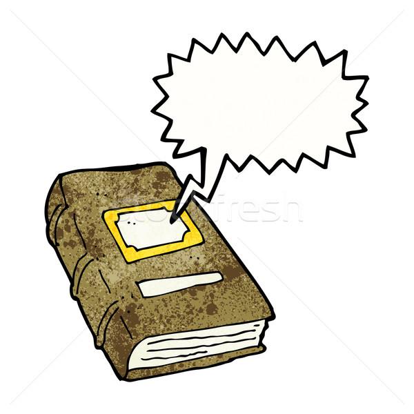 Desenho animado velho livro balão de fala mão livro projeto Foto stock © lineartestpilot