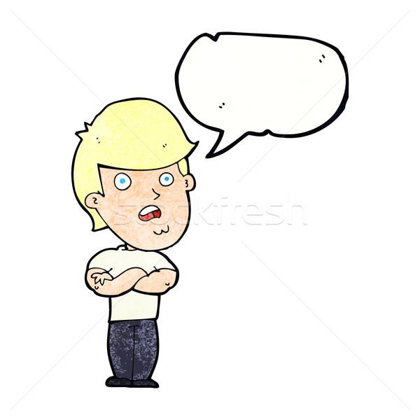 Cartoon decepcionado hombre bocadillo mano diseno Foto stock © lineartestpilot