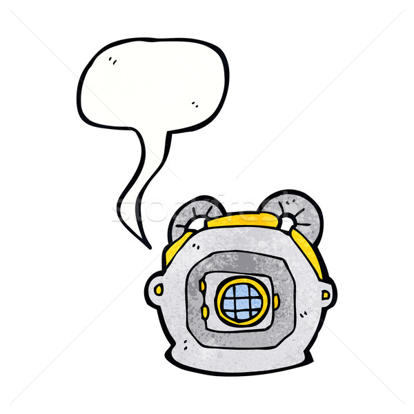 cartoon old deep sea diver helmet with speech bubble Stock photo © lineartestpilot
