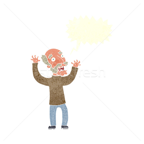 cartoon terrified old man with speech bubble Stock photo © lineartestpilot