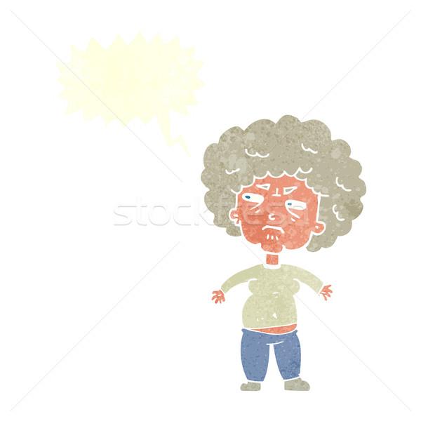 Karikatür rahatsız Yaşlı kadın konuşma balonu kadın el Stok fotoğraf © lineartestpilot