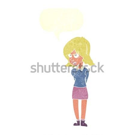 Cartoon agacé femme bulle main design Photo stock © lineartestpilot