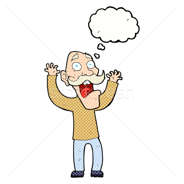 cartoon old man getting a fright with thought bubble Stock photo © lineartestpilot